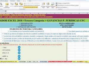 GANANCIAS PERSONAS JURIDICAS SIMULADOR EXCEL 3° CAT. con AJUSTES A COLUMNA I Y II