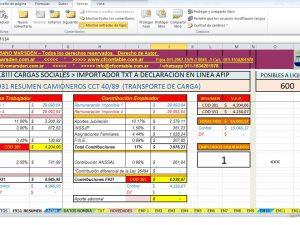 """PLANILLA EXCEL CCT 40-89 """"CAMIONEROS"""" Cargas Sociales F931"""